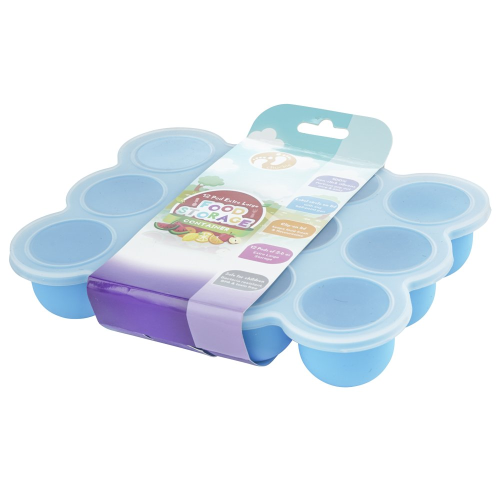 Large Size Silicone Baby Food Storage Container/12 Easy to Remove Pots/Weaning Tray/Freezer, Dishwasher & Microwave Safe - Secure Lid Included (Blue) Chuckle