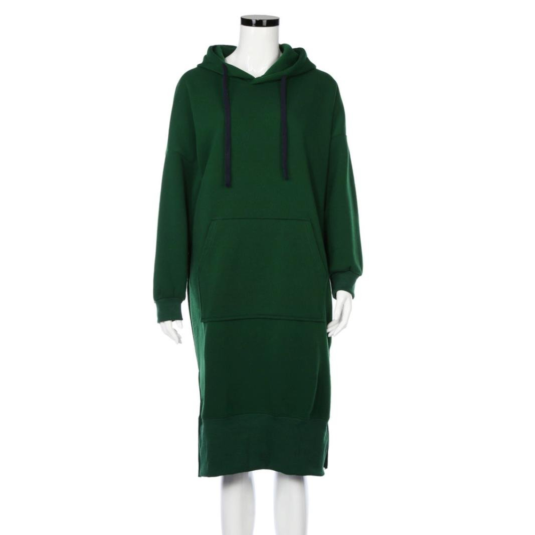 Women Blouse, Neartime Women Casual Hood Sweatshirt Hooded Ladies Long Pullover Tops (L5, Green) by NEARTIME (Image #2)