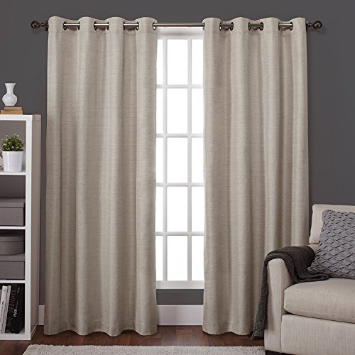 Exclusive Home Raw Silk Insulated Thermal Grommet Top Window Curtain Panels, 54″ X 96″, Taupe, Set of 2 / Pair