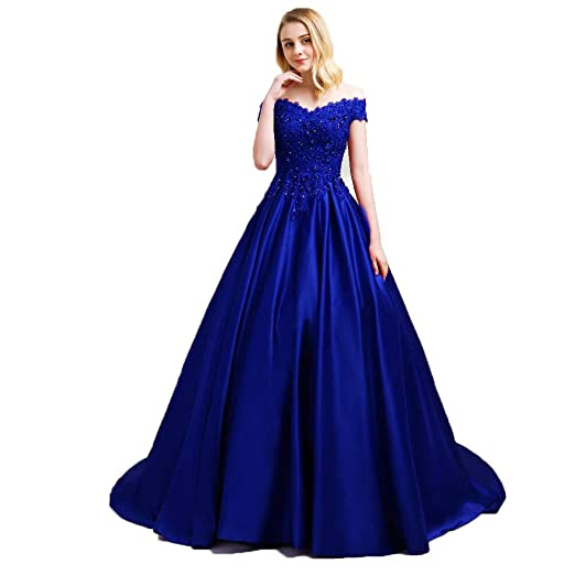 Off The Shoulder Formal Lace Illusion Long Sleeves Evening Party Ball Gown