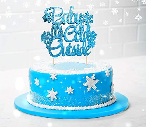Price comparison product image JeVenis Glitter Silver Baby It's Cold Outside Cake Topper Winter Wonderland Cake Topper Baby Shower Cake Topper Winter Baby Shower Decorations Christmas Cake Topper