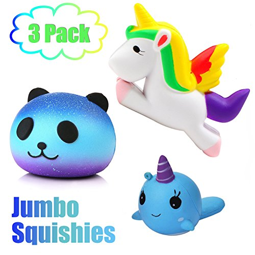 3 Pack Squishies Jumbo Slow Rising Unicorn Easter Basket Stuffers Whale Star Panda Pegasus Toys Animal Scented Squishy for Girls Boys Kids Kawaii Toys Party Favor Stress Reliever Decoration by Symfury