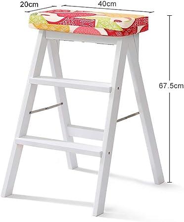 XiuHUa Taburete de Escalera de Madera Inicio Taburete de Escalera de Dos escalones Ascender Escalera de Banco Simple Silla Silla de Cocina Escalera multifunción, Blanco Taburete (Color : F): Amazon.es: Hogar