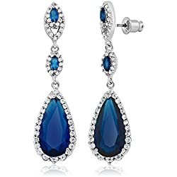Pear Shape Blue Simulated Sapphire and Zirconia Dangle Chandelier Earrings