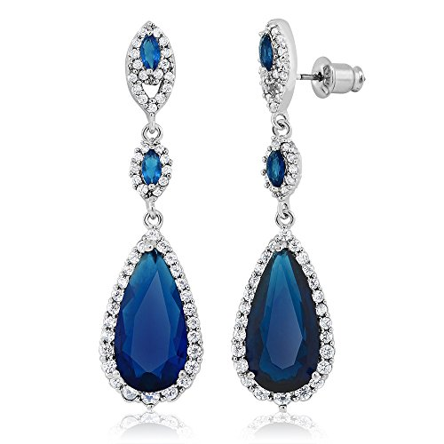 Pear Shape Blue Simulated Sapphire and Zirconia Dangle Chandelier (Blue Stone Chandelier)