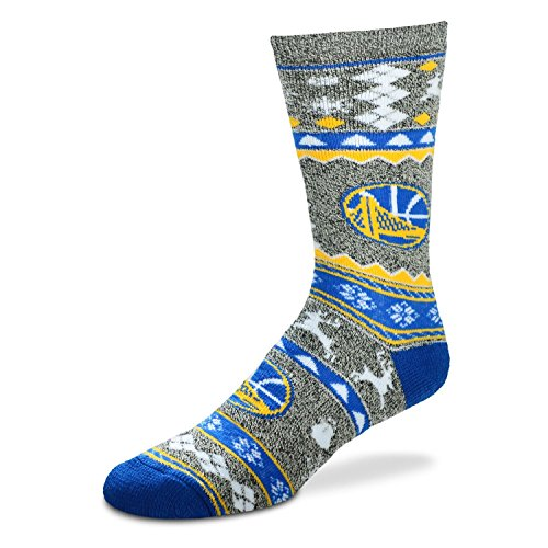 For Bare Feet Ugly Christmas Holiday Socks - Golden State Warriors (Medium 5-10)