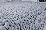 Knit Blanket Throw Soft Rug Sofa Bed Lounge Decorator Knitted Small Size Pet Bed Mat Rug (39 x 75 inches - Twin Size Bed Blanket, Light Grey)