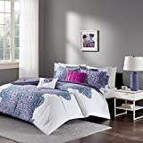 Purple and Grey Bedding Sets Intelligent Design - Mila Comforter Set Full/Queen Size - Purple, Medallion – 5 Piece Bed Sets – All Season Ultra Soft Microfiber Teen Bedding - Perfect For Dormitory-Great For Guest and Girls Bedroom