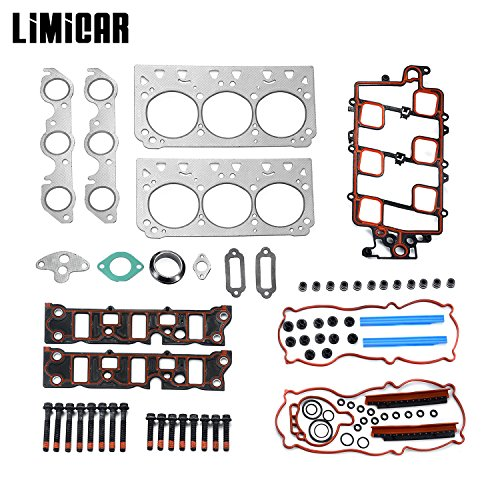 LIMICAR Cylinder Head Gaskets Set with Head Bolts for 1997-2005 Buick Oldsmobile Pontiac Chevrolet 3.8L Engine V6 VIN K VIN 2 HS9917PT-3 ES74033