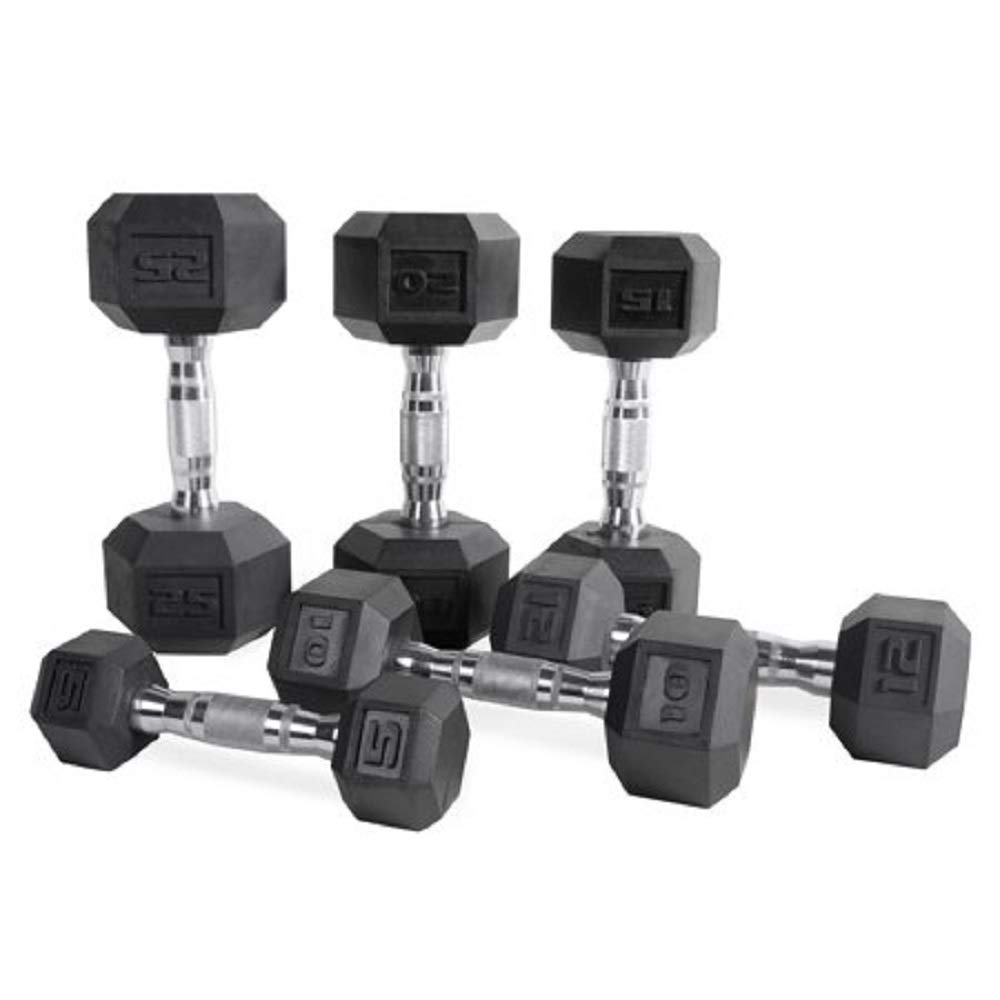 CAP Barbell Set of 2 Hex Rubber Dumbbell with Metal Handles, Pair of 2 Heavy Dumbbells Choose Weight 5lb, 8lb, 10lb, 15lb, 20 Lb, 25lb, 30lb, 35lb, 40lb, 50lb