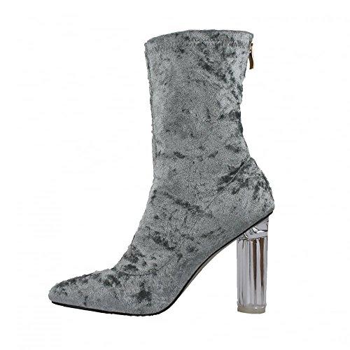 Crush Velvet Back Zip High Block Heel Ankle Boot GREY VELVET sS8is
