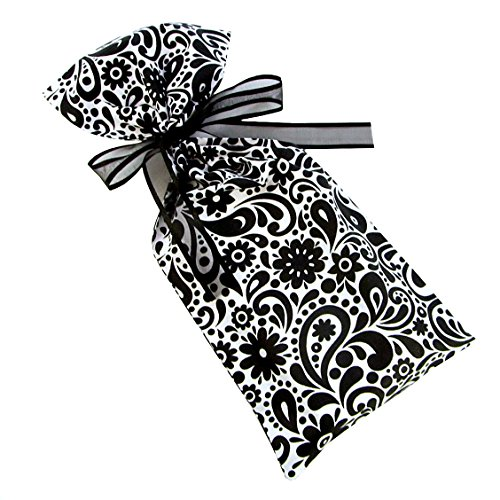 Reusable Fabric Gift Bag with Flowers and Swirls for Bridal Shower, Wedding Gift, Mother's Day or Any Occasion (Black & White, Skinny/Wine 6.5 Inches Wide by 15 Inches ()