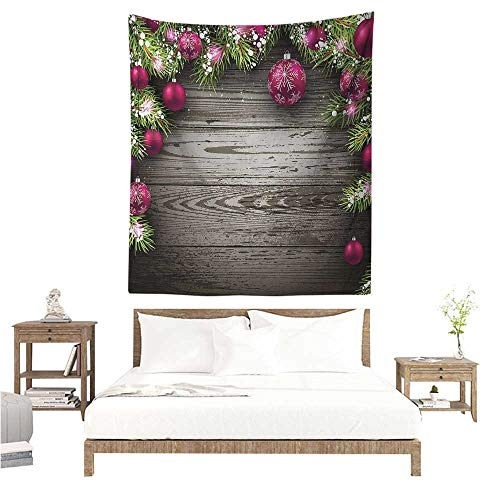 Decorative Tapestry Christmas Old Fashioned Concept with Twigs and Balls on Rustic Wood Vintage Design Print 40W x 60L INCH Suitable for Bedroom Living Room Dormitory