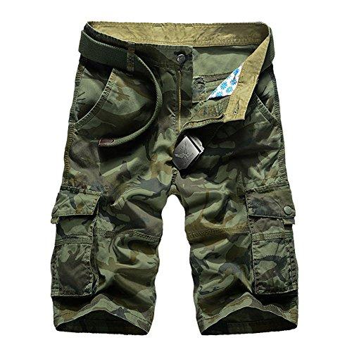 CHIYEEE Pantalones Cortos de Carga Hombres Militar Bermuda Multi-Bolsillo Vintage Pantalones Cortos Algodón Pantalones y6b8EkGkOv