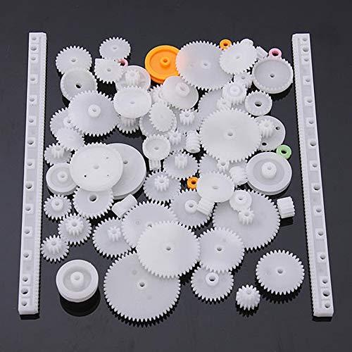 75 Tipo Engranaje de corona de pl/ástico Engranaje de doble reducci/ón doble Engranaje helicoidal Engranaje de corona Engranaje de corona de pl/ástico Simple-blanco