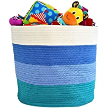 "OrganizerLogic Storage Baskets - Large 15""x 15""x 13"" Cotton Rope Storage Bins for Organizing Toys, Baby, Kids, Laundry Bin- Natural Woven Basket (Blue)"