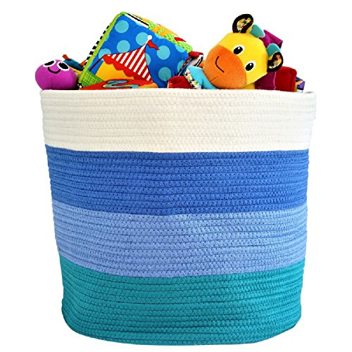 "OrganizerLogic Storage Baskets for Your Nursery Décor - Large 15"" x 15"" x 13"" Cotton Rope Storage Bin for Organizing Your Baby Room, Toys, Laundry, Blanket - Decorative Woven Basket for Boys (Blue)"
