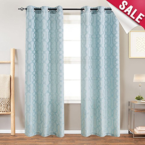 """Curtains for Living Room Trellis Geometric Pattern White Semi Sheer Window Curtains for Bedroom Jacquard Curtains Privacy Opaque Window Treatment Set, Grommet Top, 2 Panels, 84"""" Long, Blue"""
