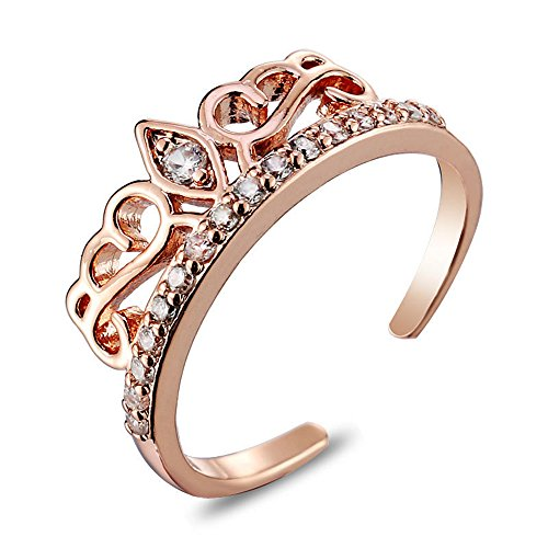 Crown Adjustable Ring (Rose Gold Adjustable Crown Ring - Inlaid Cubic Zirconia Hollow Princess Ring,Copper Material,Surface Plating Treatment,Adjustable Size 6-10)