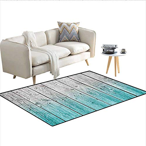 Rug,Wood Panels Background with Digital Tones Effect Country House Art Image,Floor Mat for Kids,Pale Blue and Grey ()