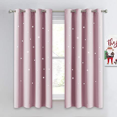 Baby Room Boys Room Set of 2 Panels Fancy Star Blackout Curtains for Kids Bedroom 42 x 63 Inches, Baby Blue Hi Girls Star Curtains Living Room
