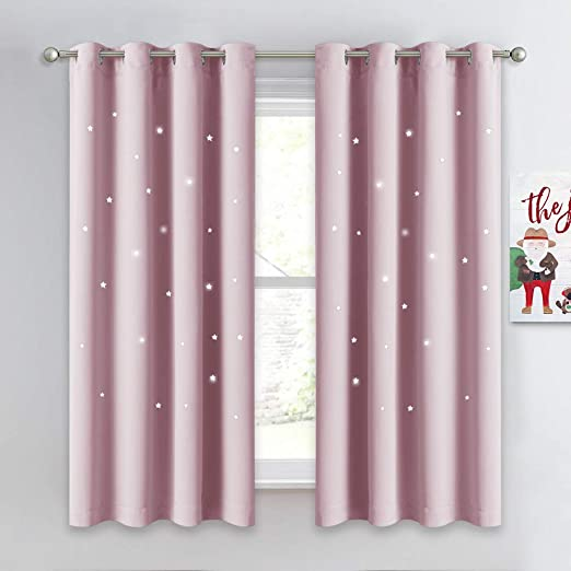 Nicetown Pink Curtains For Bedroom Enhancing Thermal Insulated Star Girls Blackout Window Curtains Drapes With Ring Top Set Of 2 Panels W52 X L63 Baby Pink Amazon Ca Home Kitchen