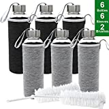 Jalousie Glass 2018 New Upgraded Water Bottle 6 Pack 18oz Travel Juice Beverage Milk Bottle Clear Sport Bottles with Stainless Steel Caps Carrying Loops and Protective Sleeves-2 Brushes Included