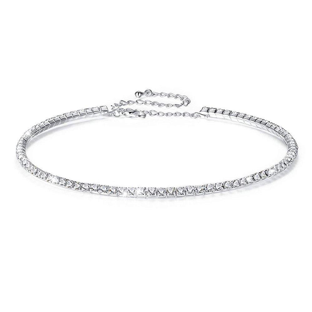 Fit&Wit Bridal Wedding Jewelry Crystal Rhinestone Collar Choker Necklace Silver (1-row Cz Rhinestones)