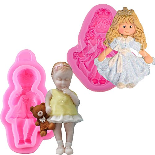 Amazon.com: Anyana Girl Baby with bear princess Candy Silicone Mold for Sugarcraft, Cake Decoration, Cupcake Topper, Fondant, Jewelry, Polymer Clay, ...
