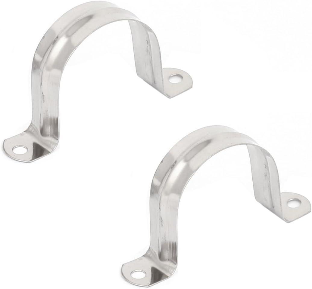 Adanse Lot de 5 colliers de serrage rigides 2 trous pour tube de 50 mm de diam/ètre Argent/é