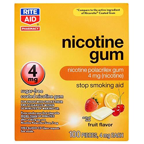 Rite Aid Nicotine Gum, 4 mg – 100 Count | Quit Smoking Aid | Nicotine Replacement Gum (Fruit)