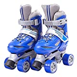 YANGXIAOYU Adult Beginner Children's Skates, 2 Bases (Double Row Inline), Professional Roller Skates, Anti-Collision Shock Wheel, Helmet + Protective Gear, Blue Red Pink