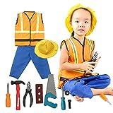 fedio 11Pcs Kid's Construction Worker Costume Dress up Role Play Set with Vest - Hat - Pants for Children Ages 3-6