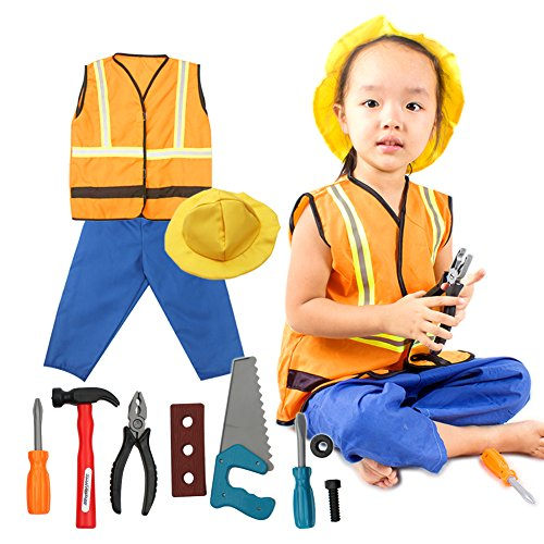 [fedio 11Pcs Kid's Construction Worker Costume Dress up Role Play Set with Vest,Hat,Pants for Children Ages 3-6] (Construction Girl Costume)
