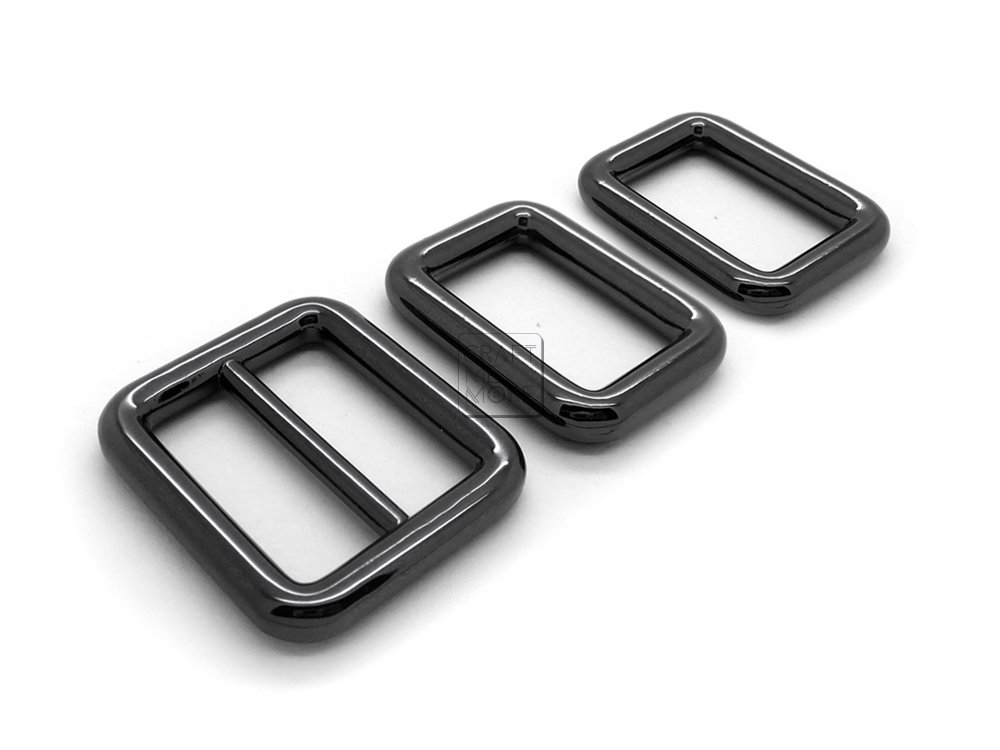 CRAFTMEmore 1SET Metal Purse Slider and Loops Set 1PC Slide Buckle with 2PCS Rectangular Rings Leather Craft 1 1//2 inch, Matte Black