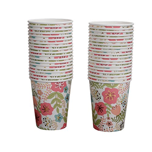 Geeklife Flower Paper Cups,Sparkly Gold Foil Disposable Paper Cups 9oz for Wedding,Party,Cocktail and Anniversary (Cup Of Gold Flower)
