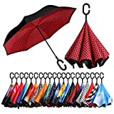 BAGAIL Double Layer Inverted Umbrellas Reverse Folding Umbrella Windproof UV Protection Big Straight Umbrella for Car Rain Outdoor with C-Shaped Handle Red Dot