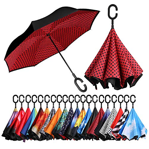 (BAGAIL Double Layer Inverted Umbrellas Reverse Folding Umbrella Windproof UV Protection Big Straight Umbrella for Car Rain Outdoor with C-Shaped Handle(Red Dot))
