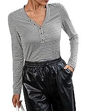 BDCUYAHSKL Herfst- en wintermode dames V-hals strepenprint lange mouwen gebreid T-shirt trui casual slanke onderkant shirt top vrouwen