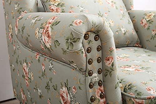 Wing Retour Fauteuil Souple sablée Tissu Motif Floral Fireside Chaise d'appoint avec Pieds en Bois Massif pour Salon Chambre