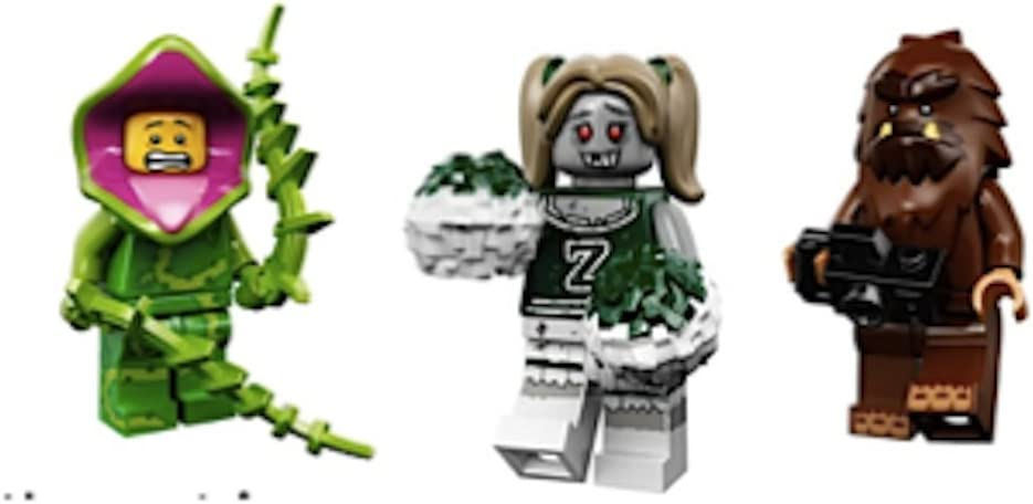 LEGO Plant Guy, Zombie Cheerleader, Bigfoot Collectible Minifigures Series 14 Monsters, Zombies, Halloween Custom Bundle 71010