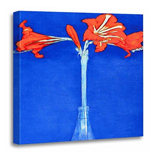 - TORASS Canvas Wall Art Print Blue Nature Piet Mondrian Amaryllis Fine Flower Red Vase Artwork for Home Decor 20