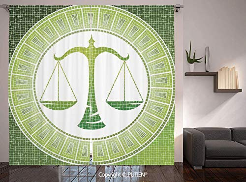 Thermal Insulated Blackout Window Curtain [ Astrology,Libra Sign on Antique Mosaic Background Balance Patient Zodiac Air Symbol Decor Decorative,Green White ] for Living Room Bedroom Dorm Room Classro