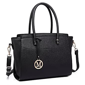 Miss Lulu Women Winged Shape Handbags Ladies Fashion PU Leather Large Shoulder Bags Female Tote Girls Cross Body Bag (Black 6627)