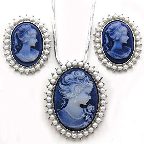 Blue Cameo Jewelry Set Necklace Pendant Stud Post Earrings Faux Pearl - Blue Pearl Costume Jewelry