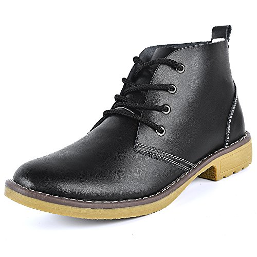 Feetmat Leather Ankle Boots for Women Lace Up Casual Oxfords Shoes Combat Boots Booties