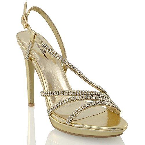 Essex Glam Dames Hoge Hak Platform Diamanten Party Strappy Sandalen Goud Metallic