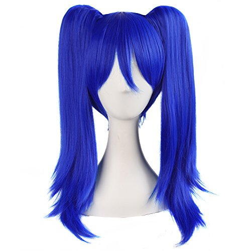 MapofBeauty 20 Inch/50cm Double Tail Straight Hair Cosplay Wigs(Navy Blue) (Blue Wig For Kids Mohawk)