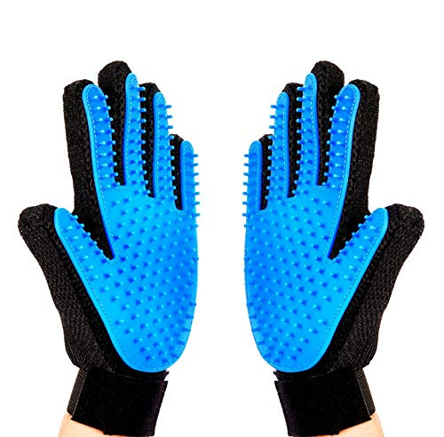Price comparison product image Pet Grooming Glove,  Pet Ninja Glove,  Amazingly cat glove,  Gentle Deshedding Brush Glove - Efficient Pet Hair Remover Mitt - Enhanced Five Finger Design - Perfect for Dog & Cat - 1 Pair (Sky Blue)