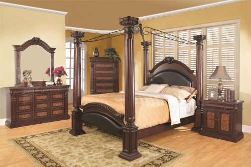 Grand Prado Poster Bedframe Majestic Luxurious Traditional Cherry Veneer 4pc Bedroom Set Eastern king Size Bed Dresser Mirror Nightstand Intricate carvings (Carvings Bed King Wood California)